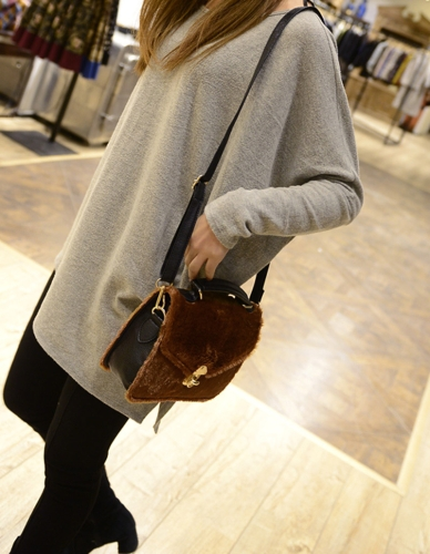 New Fashion Women Handbag Faux Fur Twist Lock Top Handle PU Leather Crossbody Shoulder Bag Tote