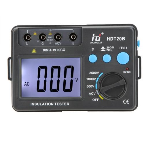 HD HDT20B resistencia aislamiento probador medidor voltímetro megóhmetro 2500V con luz de fondo LCD