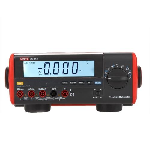 UNI-T UT803 True RMS Auto Range Bench Type Digital Multimeter DMM HZ Temperature Tester Capacitor w/hFE Test & USB