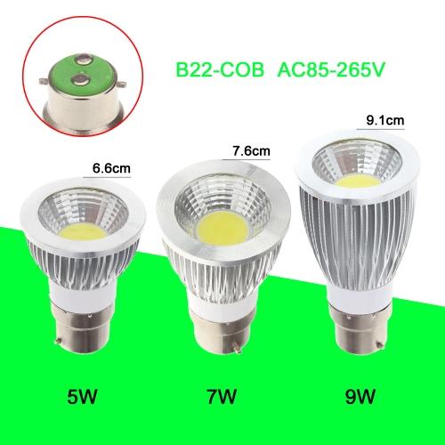 B22 7W COB светодиодные света лампы лампы высокой мощности энергосберегающих 85-265В