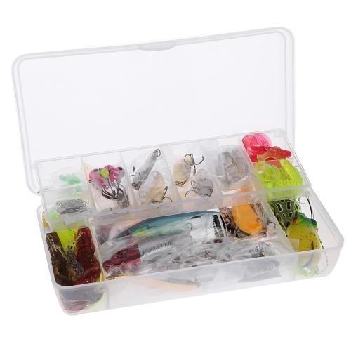 108pcs tragbare künstliche Angelköder Set Weichköder Minnow Löffel Popper Crank Shrimp Jighaken Gerät-Kasten