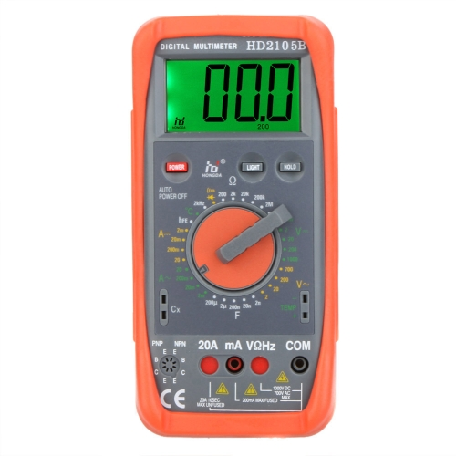 HD HD2105B Digital Multimeter DMM Capacitance Frequency Temperature Meter Tester w/hFE & LCD Backlight