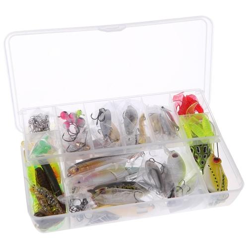 Lixada 108Pcs esche da pesca artificiale portatile impostati morbidi duro esche Minnow Spoon Popper manovella gamberetti Jig gancio Tackle Box