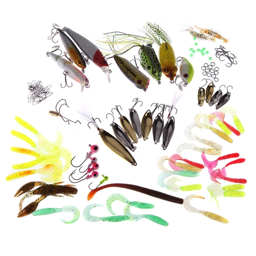 108Pcs Portable Artificial Fishing Lures Set Soft Hard Baits Minnow Spoon Popper Crank Shrimp Jig Hook Tackle Box