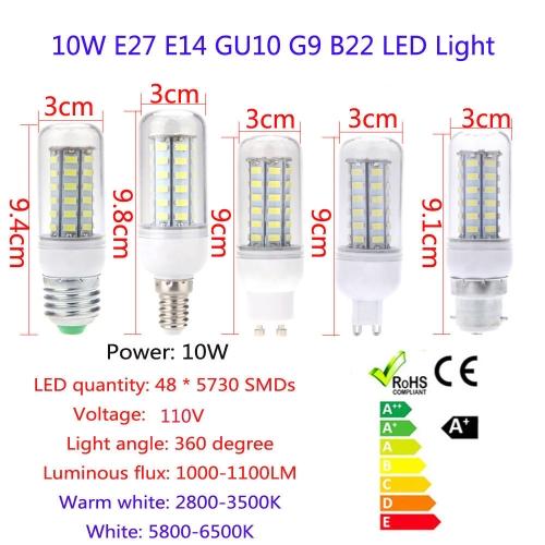 B22 10W 5730 SMD 48 LED Mais Licht Lampe Energieeinsparung 360 Grad 110V