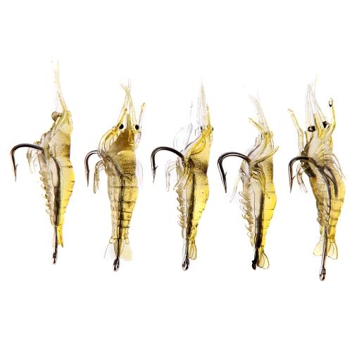 5pcs 4cm 2 g Fischköder Weiche Superleichtgewicht Vivid Garnelen Garnelen Köder Sharp Haken Fischgeruch
