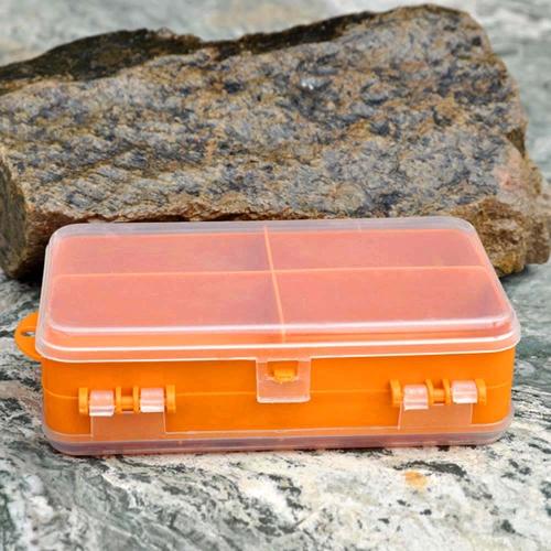 14 * 8.3 * 4,1 cm doppio biadesivo trasparente plastica visibile pesca esca gancio Tackle Box 9 scomparti