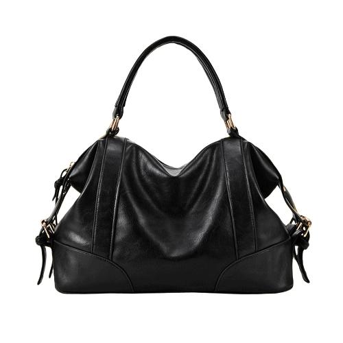 Moda donne borsetta stile europeo PU pelle grande capacità Messenger Bag nero/marrone/Borgogna