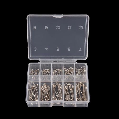 1 Box 100Pcs 3# - 12# 10 Sizes Steel Jig Hooks with Hole Fishing Tackle thumbnail