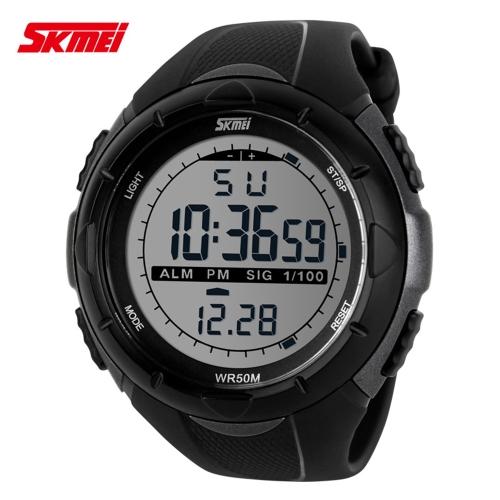 SKMEI 5ATM impermeabili moda uomini LCD digitale cronometro cronografo data allarme Casual sportivo orologio da polso