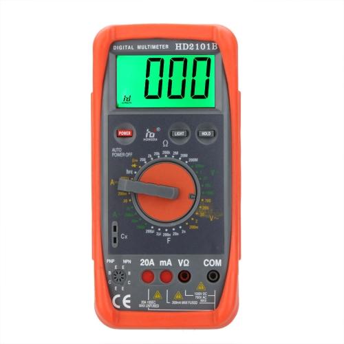 HD HD2101B Digital Multimeter DMM Ammeter Voltmeter Ohmmeter w/Capacitance hFE & LCD Backlight