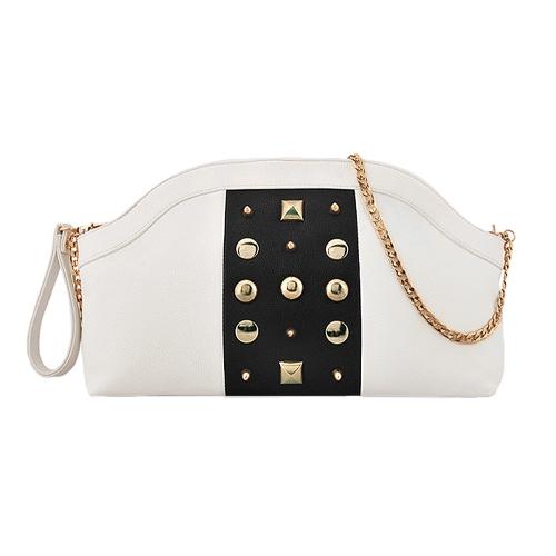 Nueva moda mujer bandolera contraste Color remaches decoración cremallera embrague bolsa de cadena