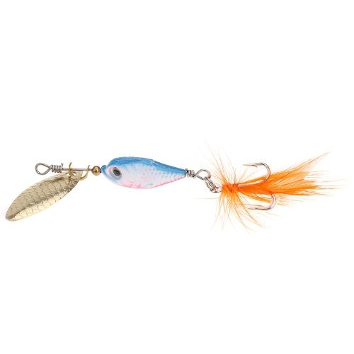 8 см 10g красочная рыбалка воблер жесткий приманки металлическая ложка с пером/крючок снасти
