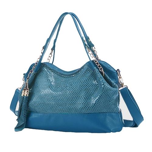 Nowe mody kobiet ramiączka torebki worek wzór PU tassels skóry torebki łańcucha Crossbody torby Tote