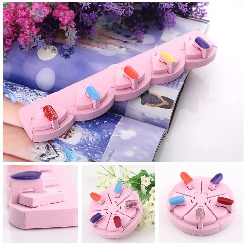 Transformable Pink Sponge Lotus Nail Art Tips Display Stand Holder Operational Table Nail Art Tips Tool
