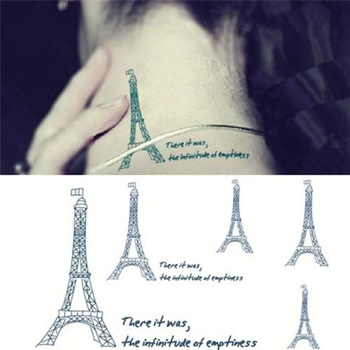 Тату наклейки Эйфелевой башни шаблон Водонепроницаемый Временные татуировки бумаги боди-арт
