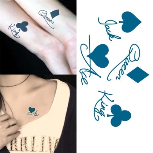 Tatuagem da etiqueta Poker padrão temporário impermeável tatuagem papel corpo arte