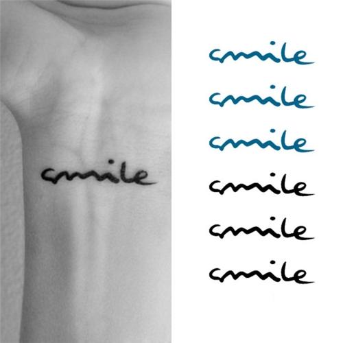 Sonrisa de pegatina tatuaje Letras patrón impermeable temporal tatuaje cuerpo arte de papel