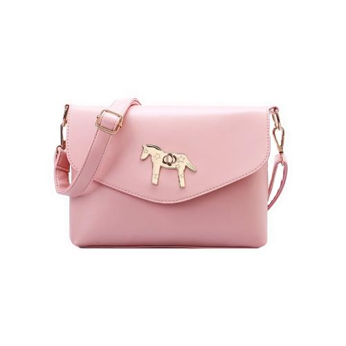 Fashion Women Shoulder Bag PU Leather Pony Twist Lock Candy Color Elegant Crossbody Messenger Bag