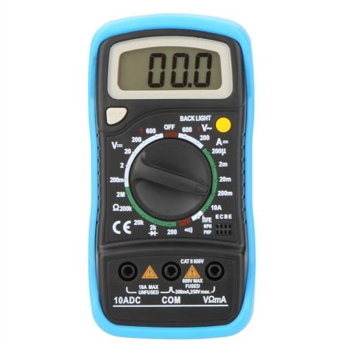 MAS830L 5'' Digital Multimeter DMM Ammeter Voltmeter Ohmmeter w/hFE Test & LCD Backlight
