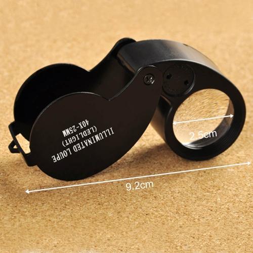 40X 25mm Gläser Vergrößerungsgläser Lupen Klappbaren Juwelen  Mini Taschenlupen LED Licht