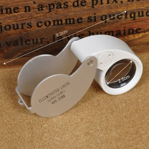 40X 25mm Glass Magnifying Magnifier Folding Jewelry Compact Pocket Loupe Led Light