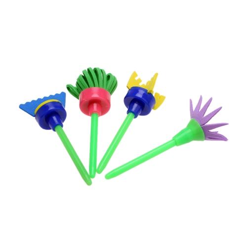 4pcs Fleur Creative Stamp Eponge Brush Set Fournitures d'Art pour Enfants Outils de Peinture de Bricolage
