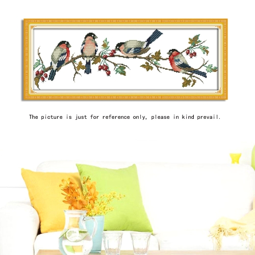 DIY Handmade Needlework Cross Stitch Set Embroidery Kit Precise Printed Bullfinches Pattern Cross-Stitching 68 * 26cm Home Decoration
