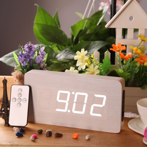 Creative Remote Control Wooden LED Digital Alarm Clock with Temperature Display Thermometer Voice Sound Activated DC6V Perpetual Calendar Function