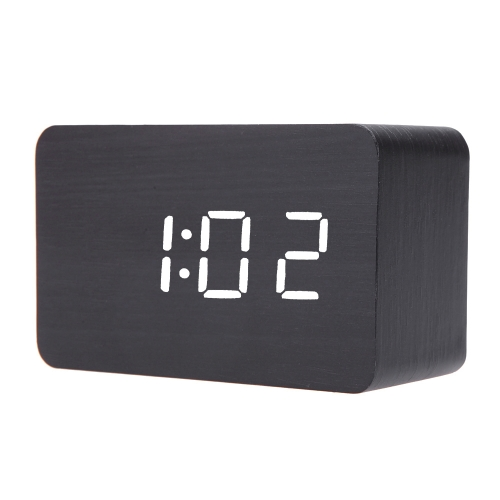 Creative Wooden LED Digital Alarm Clock with Temperature Display Voice Sound Activated USB DC6V