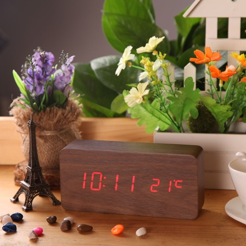Creative Rectangle Wooden LED Digital Alarm Clock with Temperature Display Thermometer Voice Sound Activated USB DC6V Perpetual Calendar Function