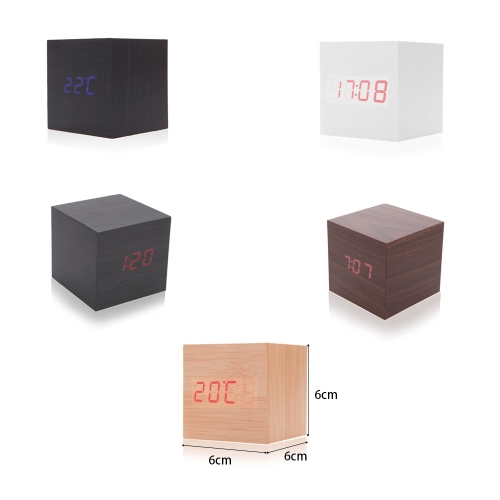 Creative Wooden LED Digital Square Alarm Clock with Temperature Display Voice Sound Activated USB DC6V