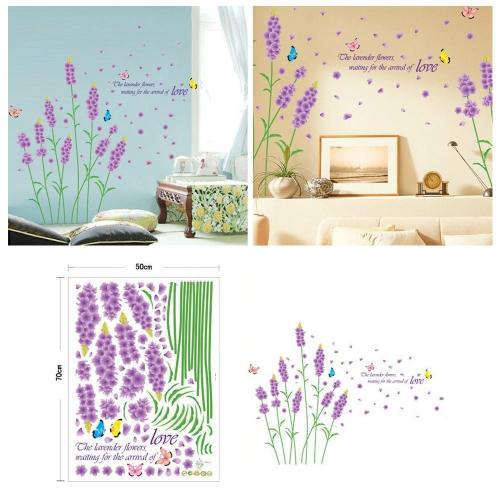 Purpura Flor Lavanda Pared Calcomania Removible Etiqueta Romantica