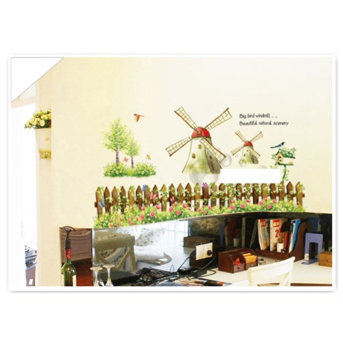 Dessin animé Windmill Wall Decal amovible Country Style Sticker Art bricolage décoration 60 * 90cm