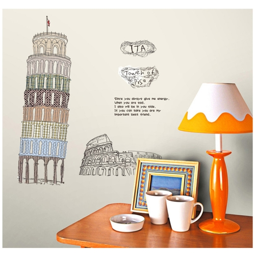 Leaning Tower of Pisa Wall Decal Removable Sticker for Bedroom Study Children Room Decoration Art Mural Decor 60*90cm