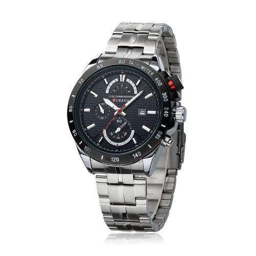 CURREN 8148 moda negocios hombres reloj de pulsera resistente al agua acero inoxidable cuarzo analógico calendario reloj