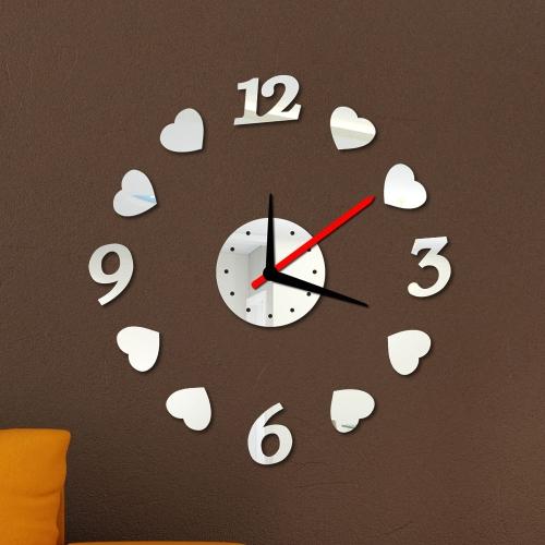 Kreatywne cyfry Loving Heart Zegar na ścianę Zegar Zestaw DIY Efekt Mirror Akryl Szkło Kalkomania Strona główna Zdejmowane Dekoracje