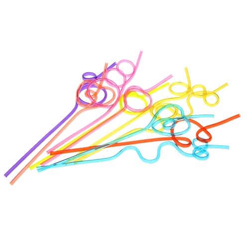 10ST/viele bunte Stroh Crazy Curly Loop farbig trinken Strohhalme für Geburtstagsparty