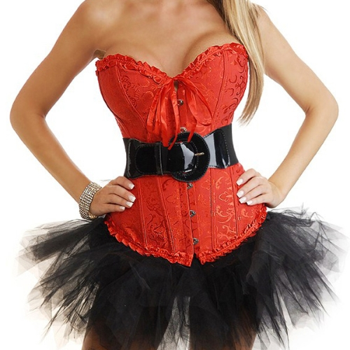 Women Sexy Lingerie Corset Top Ribbon G-string Cincher Nightwear Underwear Red/White