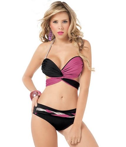 Set sexy del bikini del costume da bagno del costume da bagno della Rosa della biancheria della Rosa