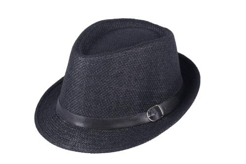 Moda mulheres homens chapéu Fedora Trilby Cap palha praia Sunhat com cinto preto Unisex