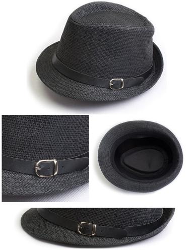 Мода женщин мужчин фетровая шляпа Трилби пляжа Кап соломы кепку с мужской черный пояс