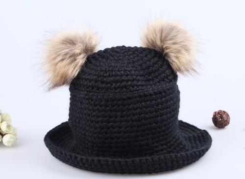 Ragazza dolce carina cappello Twin noccioline a maglia cappuccio caldo nero