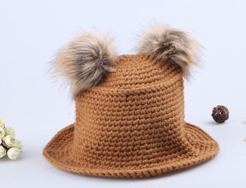 Lindo sombrero dulce dos motas de punto caliente tapa marrón
