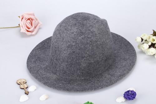 Moda Unisex lana Fedora sombrero Trilby casquillo de corona Alón Bowler Derby Headwear disquete cubo sombrero gris