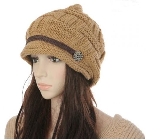 Gorrita tejida del invierno mujeres Chunky Knit anchos sombrero caliente de esquí sombrero tapa sombrero color caqui