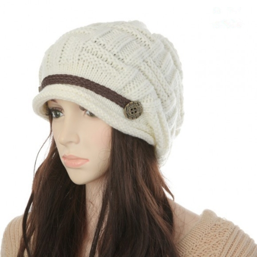 New Winter Women Beanie Chunky Knit Baggy Hat Warm Ski Hat Cap Headwear White