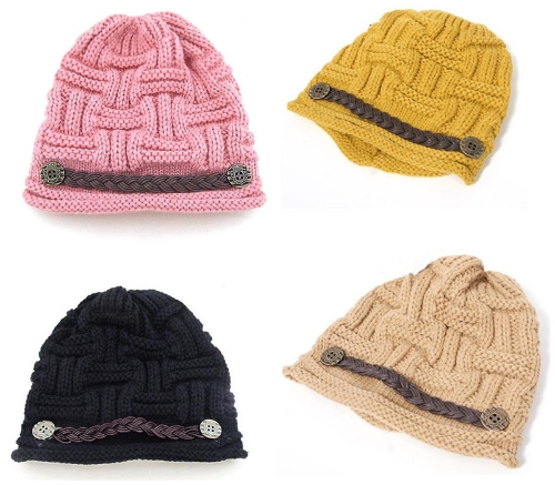 New Winter Women Beanie Chunky Knit Baggy Hat Warm Ski Hat Cap Headwear Yellow