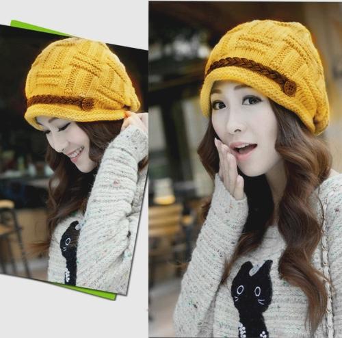 Anchos sombrero del Knit del invierno mujer gorro grueso caliente de esquí sombrero gorra sombrero amarillo