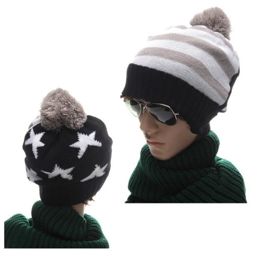 Autumn Winter Men Women Knitted Hat American Flag Star Stripes Bobble Beanie Ski Hat Thick Cap Unisex Headwear Black & Grey